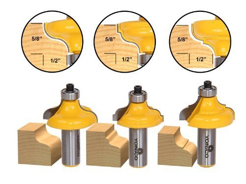 Yonico 13325 3 Bit Edge Molding Router Bit Set with Ogee 1/2-Inch Shank by Precision Bits.com - Molding Router Bit Set