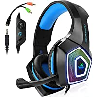 Gaming Headset für PS4, 3.5mm Surround Sound Kabelgebundenes Headset mit Mikrofon, Buntes LED-Licht, Kopfhörer für Laptop, Mac, Xbox One, Tablet, PC, Smartphone (Blau)