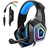 Gaming Headset for PS4, 3.5 mm Stereo Sound Wired Headset with Microphone Colorful Led Light Headphones for Laptop, PC, MAC, Xbox One, Tablet, Smartphone blue
