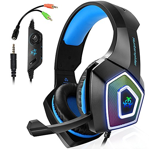 Gaming Headset für PS4 Xbox One PC,Stereo Sound Gaming Kopfhörer mit Mikrofon für Laptop Mac Tablet (Blau) - Headset Switch Box