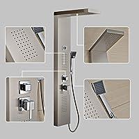 Auralum Termostato Colonna doccia pannello in acciaio inox doccia display LCD soffione doccia Set, doccia a telefono e doccia Tubo e supporto doccia