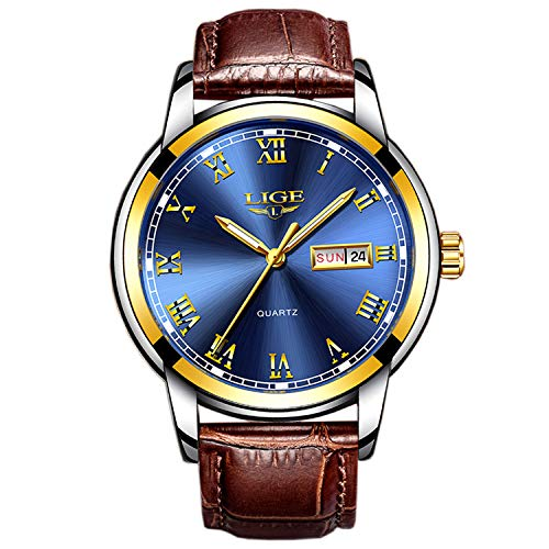 Business Sportuhr Herren Uhr Analog Quarz mit Leder Armband 9846L