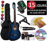 Pack Guitare Classique 3/4 (Enfant) 6 Accessoires Cour Vidéo et DVD (Bleu)