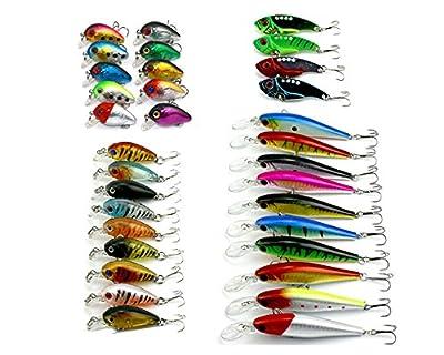 HENGJIA 1.6-11g Mixed Fishing Lures Set Kit Mini Crankbait/Metal VIB/Minnow Plastic Fishing Bait Hard Lures for Trout Bass Pike Muskie 4models 33pcs from HENGJIA