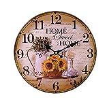 LB H&F Lilienburg Wanduhr Vintage Küchenuhr Uhr grün braun gelb Home