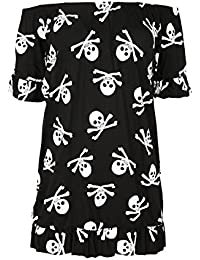 ef0dfad33e Oops Outlet Womens Ladies Off The Shoulder Bardot Frill Peplum Short Sleeve  Mini Dress T Shirt Top Plus Size…