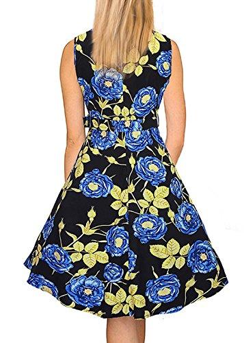Feoya - Femme Robe Longue Sans Manche Col rond été Vintage 50s Années Cérémonie Soirée Party de Cocktail Style - Rose Modèle - Bleu/Rose/Violet - Taille M/L/XL/XXL Bleu