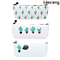 Westeng Set of 3 Canvas Pen Pencil Case Bag Stationery Storage Pouch Case Cosmetic Makeup Bag Coin Purse Cactus Pattern