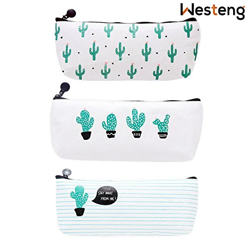 Westeng Set of 3 Canvas Pen Pencil Case Bag Stationery Storage Pouch Case Cosmetic Makeup Bag Coin Purse Cactus Pattern