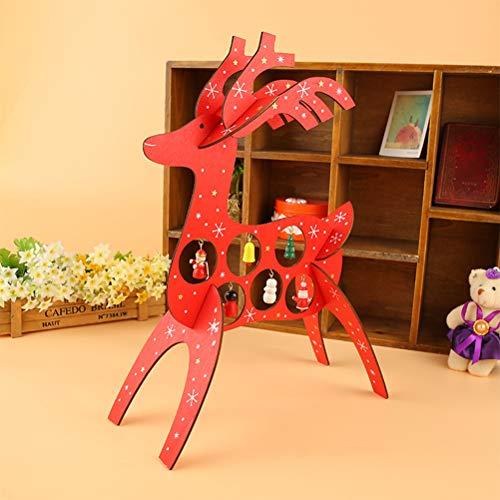Amosfun Holz Rentier Ornament Weihnachten Elch Tischdekoration Xmas Party Supplies -