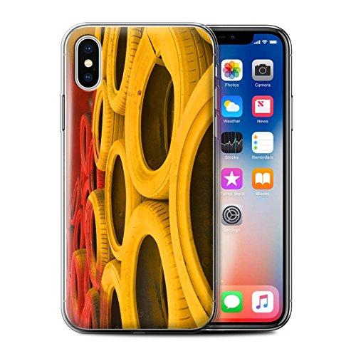 Stuff4 Gel TPU Hülle / Case für Apple iPhone X/10 / Start Ampel Muster / Rennstrecke Foto Kollektion Reifen/Schranken