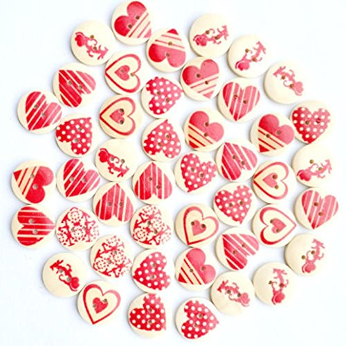 Winkey 5020mm Holz Button Herz Muster 2-fach Nähen Scrapbooking Craft DIY machen für sich selbst
