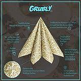 GRUBly Servietten Gold | Stoffähnlich [50 Stück] | Hochwertige goldene Tischdekoration für Weihnachten, Hochzeit, Geburtstag, Feiern | 40x40cm | AIRLAID QUALITÄT - 4