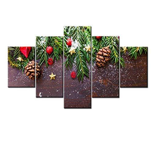 Pittura senza cornice core pittura decorativa inchiostro pittura pittura a olio 5 pannello natale verde pine branch painting