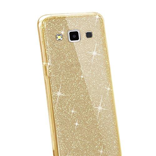 Custodia Samsung Galaxy E5 E5000 Cover Case , Vandot [360 gradi] 3 in 1 Protezione Completa Glitter Sparkle Bling Bling Trasparente Custodia per Samsung Galaxy E5 E5000 Cover Case Caso Gomma Ultra Sot 360 Oro