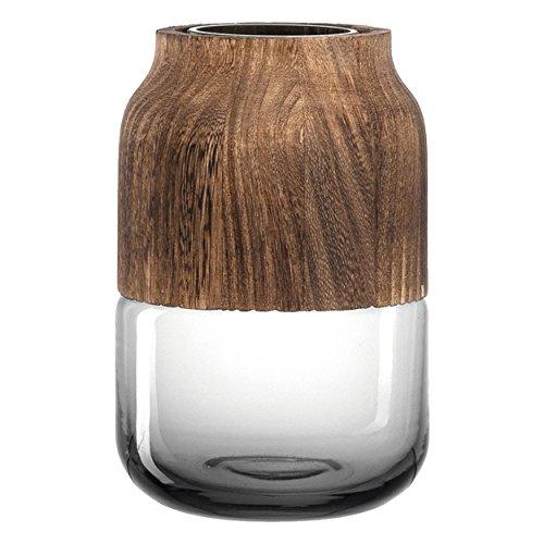 Leonardo 029902 Vase/Blumenvase - basalto Colletto - Höhe 18 cm - schöner Materialmix aus Glas und Holz