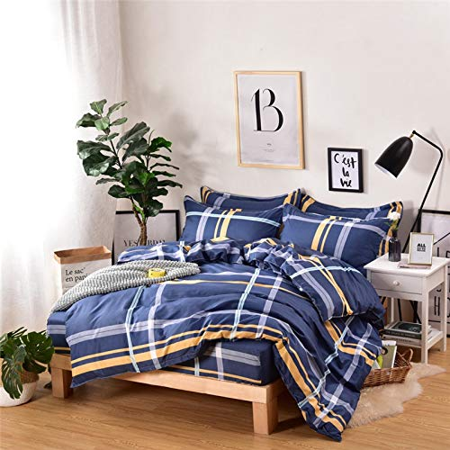 Bettdecken-Sets 2019, Ultraweiche 500TC 3/4 STÜCKE Qualität Bett Set + Bettlaken + Kissenbezug + Bettbezug Streifen Tröster Set Geometrisches Muster Blau Schwarz Bettdecke 100% Bambusfaser - Set-blau-gold Tröster König