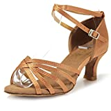 Mujer Zapatos Tacon - Generico 1 par Mujer Zapatos Tacon De Salsa Bachata Latinos Baile Sandalias Latin Shoe, Beige 37