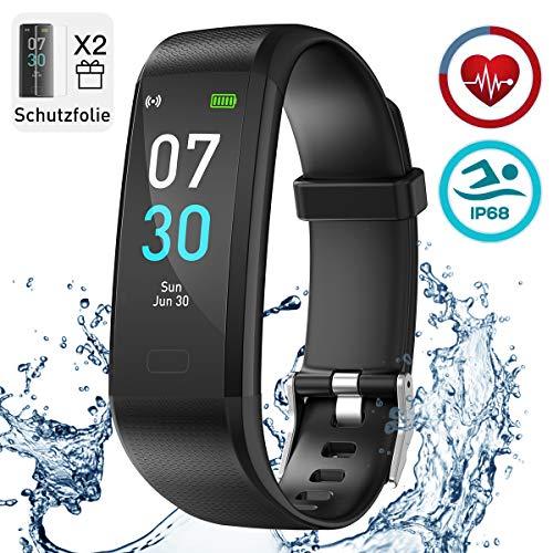 iWalker Fitness Armband mit Pulsmesser, Wasserdicht IP68 Fitness Tracker Farbbildschirm, Smartwatch Aktivitätstracker Pulsuhr Schrittzähler Sportuhr für Damen Herren, Schwarz