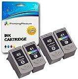 4 Tintenpatronen kompatibel zu Canon PG-40 CL-41 für Pixma iP1200 iP1300 iP1600 iP1700 iP1800 iP1900 iP2200 iP2400 iP2500 iP2600 iP6220D MP140 MP150 MP160 MP170 MP180 MP190 MP210 MP220 MP450 MP460 MP470 MX300 MX310 - Schwarz/Color, hohe Kapazität