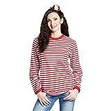 Ringelshirt langarm rot-weiß gestreift Unisex Pullover Oberteil Shirt Karneval (L)