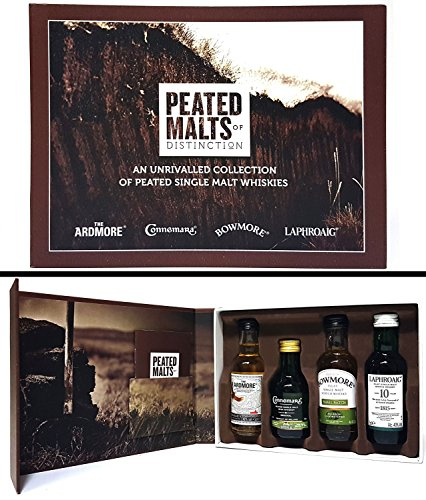 Scotch Whisky Geschenkset - The Ardmore Whisky (40% Vol) + Connemara Irish Whisky (40% Vol) + Bowmore Islay Scotch Whisky (40% Vol) + Laphroaig Islay Whisky (48% Vol) - je 5cl