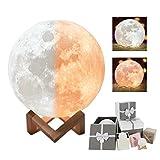 3D Mond Lampe Light Weiß/Warm Dimmable Touch Control Moonlamp Licht Helligkeit Led Nachtlicht mit USB Aufladung und Hölzerner Einfassung Tisch Schreibtisch Lampe Bestes Geschenk led gesch (7.9 inch)