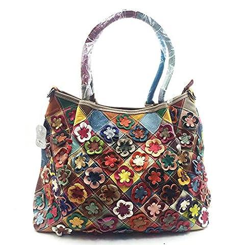WANGWO High Quality Womens Genuine Cowhide Leather Handbag Color Matching Tote Shopping Bag