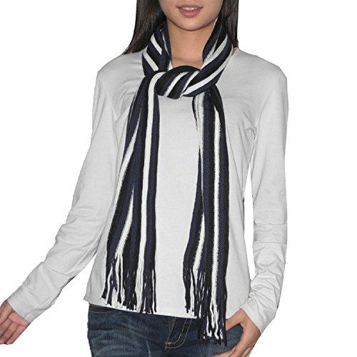Femme Fringe (hommes / femmes Confortable et Super-Soft Thin Stripe Scarf hiver Knit Wrap / Avec Fringe - Sombre Bleu & Blanc)