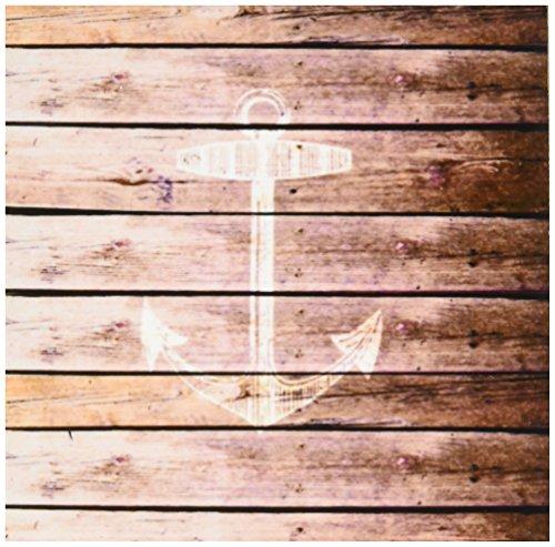 3dRose inspirationzstore Nautische Designs–weiß Anker Stempel auf Holz Textur Graphic Print–nicht tatsächlich aus Holz–braun Grunge Nautisches Thema–Untersetzer, Set-of-8-Ceramic