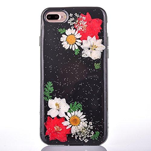 "iPhone 7Plus Handyhülle, CLTPY iPhone 7Plus Transparent Klare 3D Motiv Fall, [Ultra Hybrid] Echte Getrocknete Blumen Series Etui, Dünne Stoßfest Gummi Case für 5.5"" Apple iPhone 7Plus (Nicht iPhone 7) Floral 3"