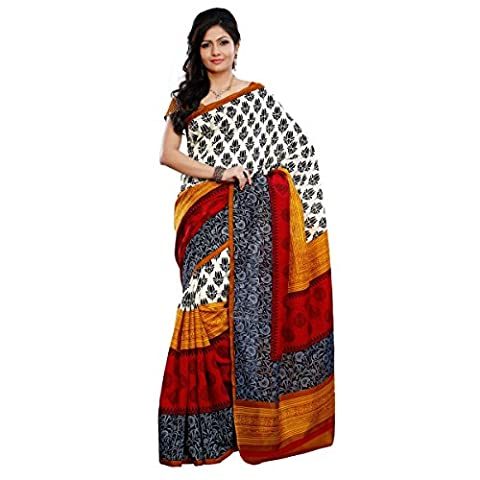 Triveni Women's Indian Traditional Cream Printed Art Silk Saree Sari with Stitched Blouse