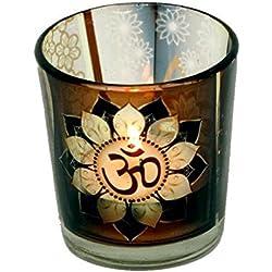 2 x cristal ohm OM flor de loto vela portavelas votivo vela pequeña yoga meditación 6cm regalo