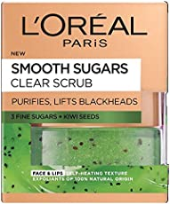 L'Oreal Paris Smooth Sugar Clear Kiwi Face And Lip Scrub, 50 Ml