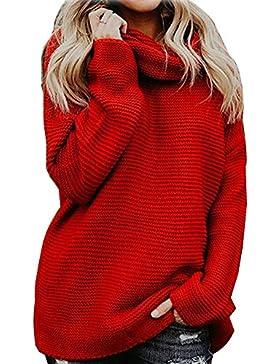 ShallGood Mujer Otoño E Invierno Jersey Long Pullover Suéter Punto  Texturizado con Cuello Alto Elegante Clásico c0525eab1cce
