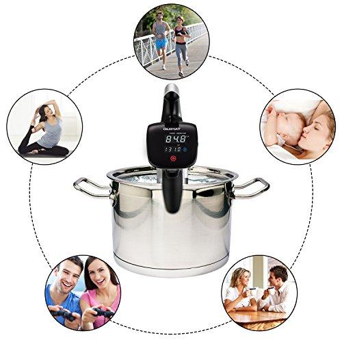 Quimat Sous Vide Präzisionskocher Tauchzirkulator Genaue Temperatur Digital Timer und Edelstahl mit einem Set aus BPA-freien Vakuum Zip-Beuteln & Rezepten (Weiß) - 6