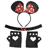 Maus Kostüm Disney Mäusekostüm 3 tlg. Minnie Mouse Kostümset Mauskostüm Set Karnevalskostüme Damen Tier Mottoparty Verkleidungsset Tierkostüm Mäuschen