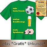 Lustiges Fun T-Shirt: Fussball - Bier - Titten - Geschenk mit Urkunde Spassvogel, Größe:XL