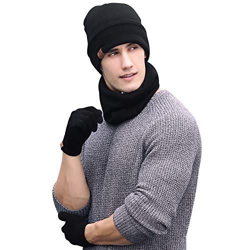 Aibrou Winter 3 in 1 One-Size Herren und Damen Strickmütze, Schal und Handschuhe Set, Warmes thermisches Set mit Fleecefütter, Schwarz