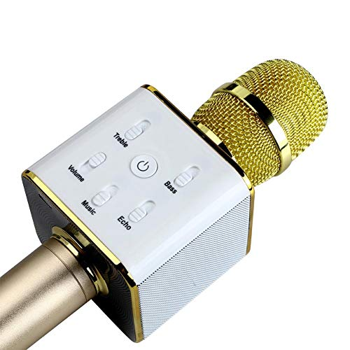 Meya Happy™ W858 Bluetooth Wireless Karaoke Mic with Speaker for Home, Party, Singing, Recording   Microphone Condensor For Mobile, Laptop Etc. (W858 GOLD)