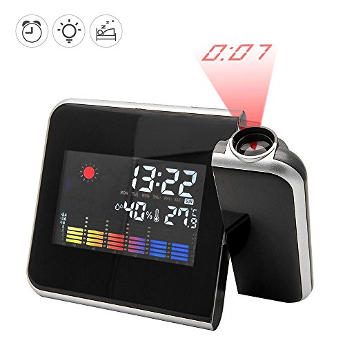 Digital Projektion Uhr, Decke/Wand Projektion Wecker mit LED Display Screen & Hygrometer Innen Temperatur USB Ladeanschluss schwarz (Wecker Projektion Uhr)