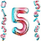 Siumir Palloncino Foil Numero Palloncino 40 Pollici Gigante Palloncini Digitali Decorazione Festa di Compleanno Numero 5