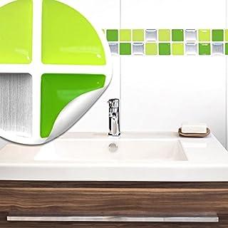 Wandora 7 Stück 25,3 x 3,7 cm Fliesenaufkleber hellgrün grün Silber Mosaik I Selbstklebende 3D Fliesen Küche Bad Fliesendekor Fliesenfolie W1435