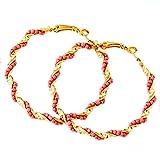 Camy golden metal hoop earrings For Wome...