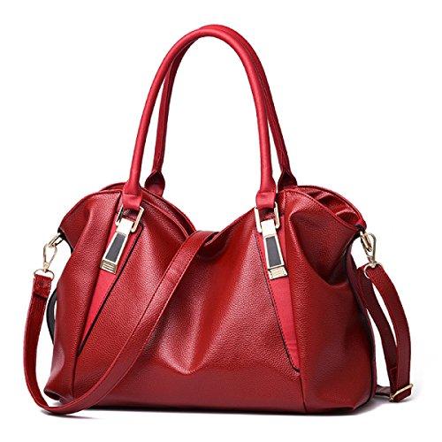 Preisvergleich Produktbild SJLN Frauen Mode Handtasche Dame Pu Große Kapazität Diagonal Umhängetasche Reise Shopping Rucksack,WineRed-OneSize