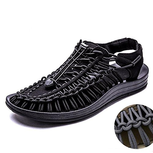 Männer / Damen gewebte Sandalen bequem atmungsaktiv leicht langlebig Sommer Vintage gewebte Schuhe Black