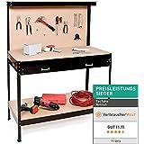 TecTake Banco de trabajo 160x120x60 cm Mesa de trabajo para taller bricolaje pared herramientas cajón