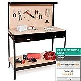 TecTake 400855, Banco de trabajo 120 x 60 x 156 cm Mesa de trabajo para taller bricolaje pared herramientas cajón