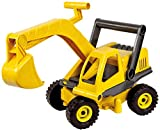 Lena 04211 - EcoActives Bagger, ca. 35 cm, Baustellen Spielfahrzeug für Kinder ab 2 Jahre, robuster Schaufelbagger mit beweglichen Baggeram und Haltegriff, natürlicher Holzgeruch durch Holzanteil