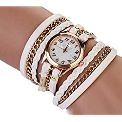 PromiseU Women Synthetic Leather Strap Watch -White